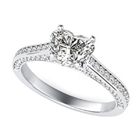 Cathedral Engagement Ring With Pave Side Stones
