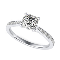 Cathedral Engagement Ring With Pave Side Stones And Scroll On The Side
