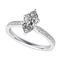 Classic Engagement Ring With Pave Side Stones