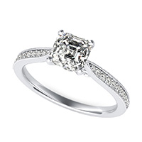 Cathedral Engagement Ring With Milgrain Pave Side Stones And Scroll On The Side