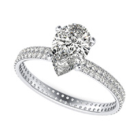 Double Row Eternity Engagement Ring with Milgrain
