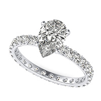 French Pave Eternity Engagement Ring with Milgrain