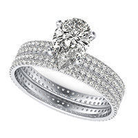 Double Row Eternity Engagement Ring with Milgrain & Matching Band