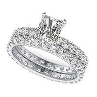 French Pave Eternity Engagement Ring with Milgrain $ Matching Band