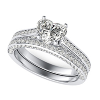 Cathedral Engagement Ring With Pave Side Stones & Matching Band