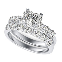 Engagement Ring With Side Stones Set In U Shape Prongs & Matching Band