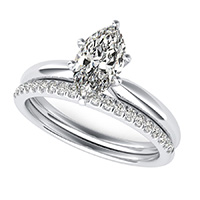 Delicate And Classic Solitaire Engagement Ring With Manching Band