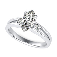 Taj Three Stone Engagement Ring