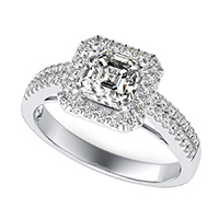 Double Band Cathedral Halo Engagement Ring