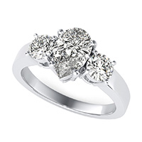 Classic Basket Three Stone Engagement Ring