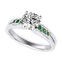 Taj Engagement Ring With Bezel Set Side Stones