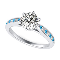Victoria Royal Cathedral Engagement Ring With Pave Set Side Stones