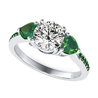 Classic Basket Three Stone Engagement Ring With Accented Side Stones