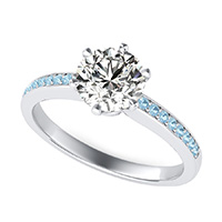 Victoria Royal Engagement Ring With Pave Side Stones