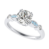 Engagement Ring With Bezel and Pave Set Side Stones