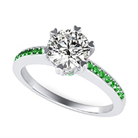 Milano Engagement Ring With Pave Side Stones