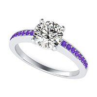 Classic Double Wire Basket Engagement Ring With Pave Side Stones