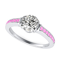 Half Bezel Engagement Ring With Pave Set Side Stones